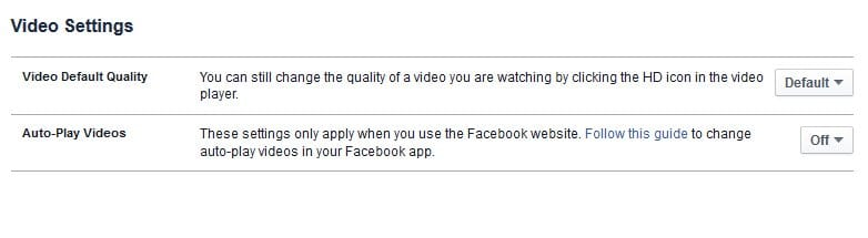 turn of video autoplay facebook