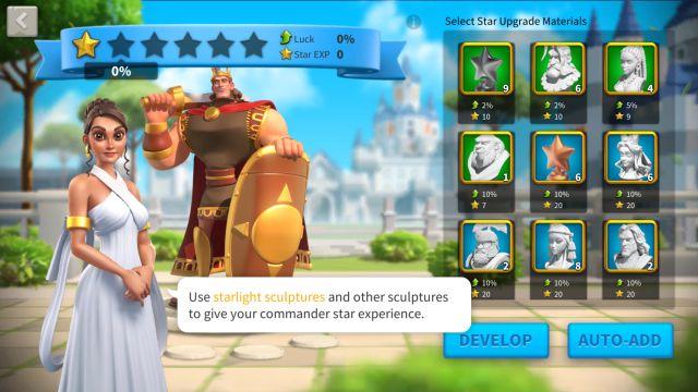 rise of kingdoms commander star up