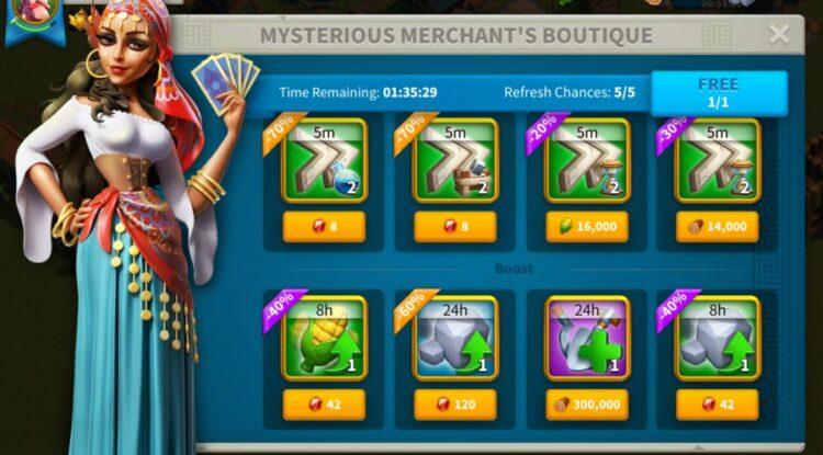 rise of kingdoms mysterious merchant