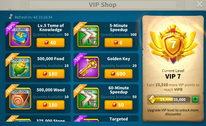 rise of kingdoms vip shop
