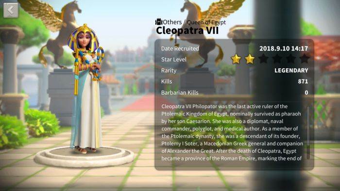 rise of kingdoms cleopatra