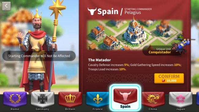 rise of kingdoms how to change nation 1