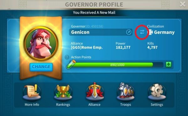 rise of kingdoms how to change nation