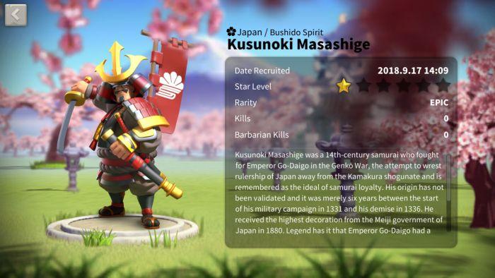 rise of kingdoms kusunoski masashige