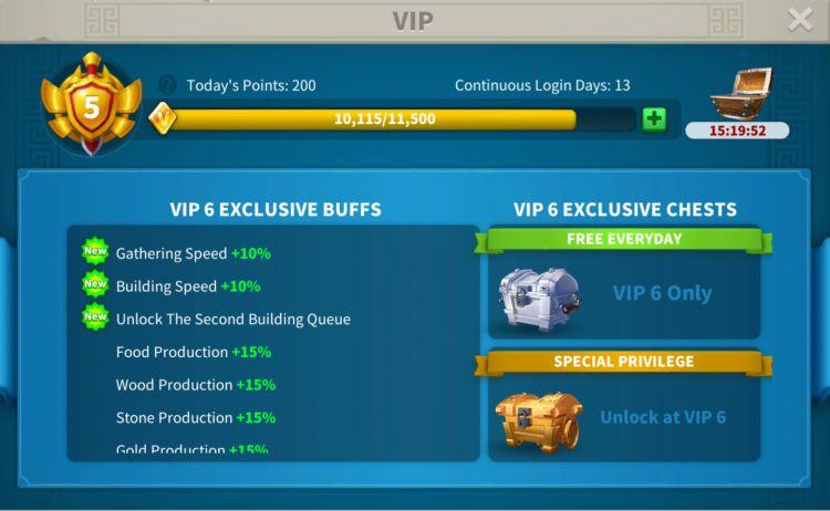 rise of kingdoms vip level 1