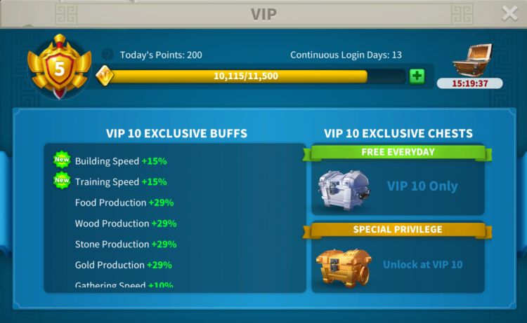 rise of kingdoms vip level 2