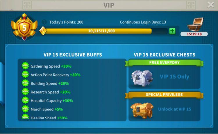 rise of kingdoms vip level 3